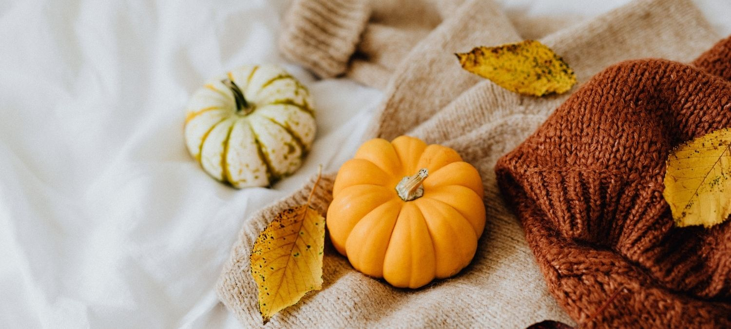 Mini pumpkins on a bed with wool blankets