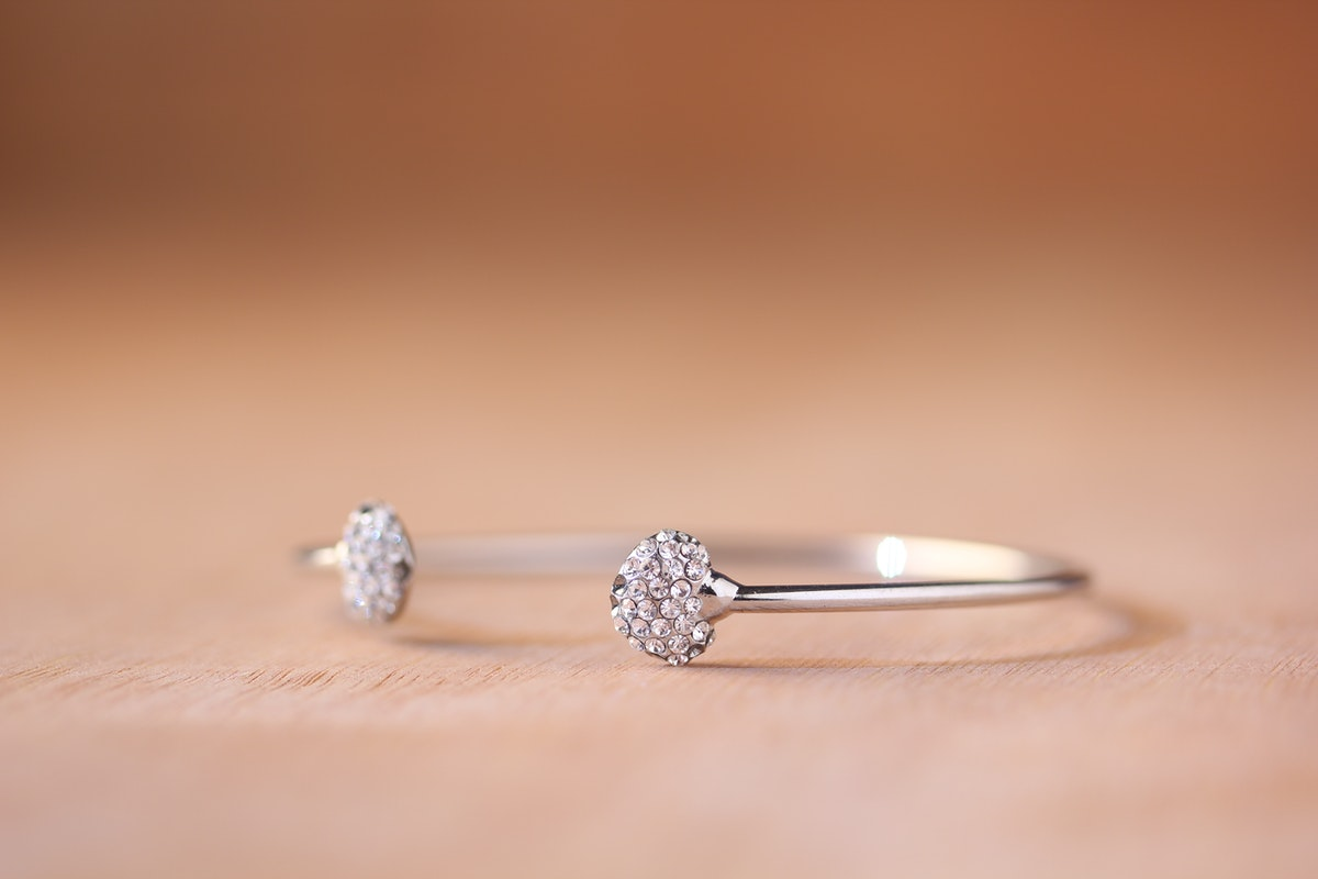 A crystal bracelet in close-up focus. Crystal jewellery is a great gift option for a 15th wedding anniversary gift,