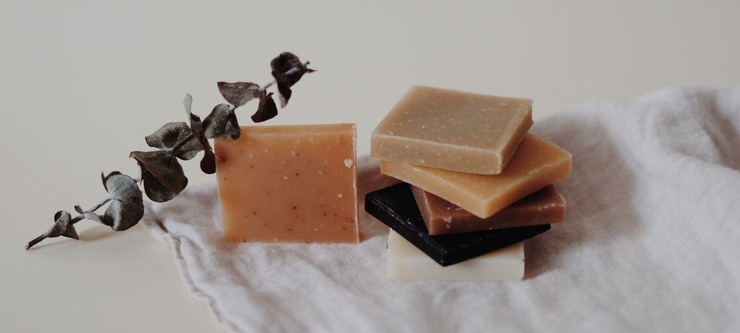 Bars of home made soap in different colours