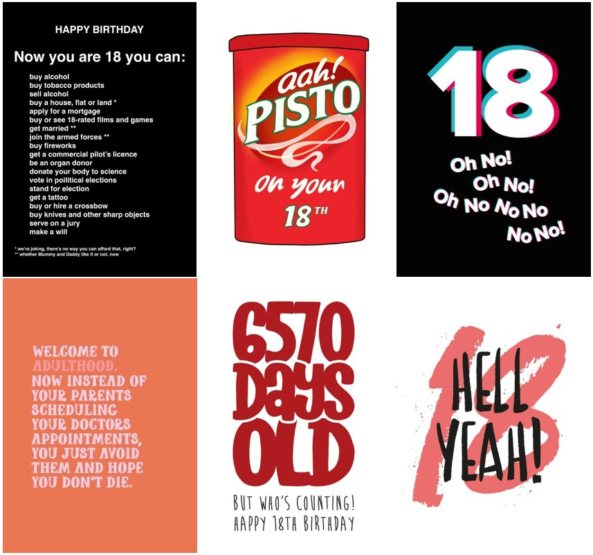 A range of 18th birthday cards from thortful
