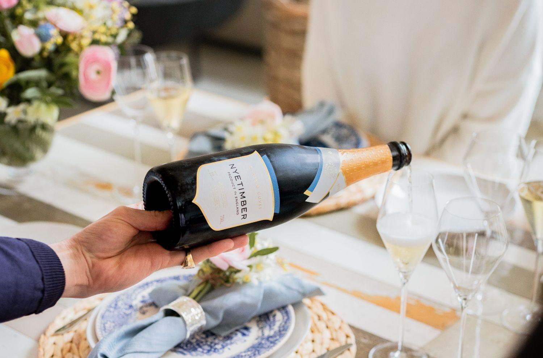 A bottle of sparkling wine